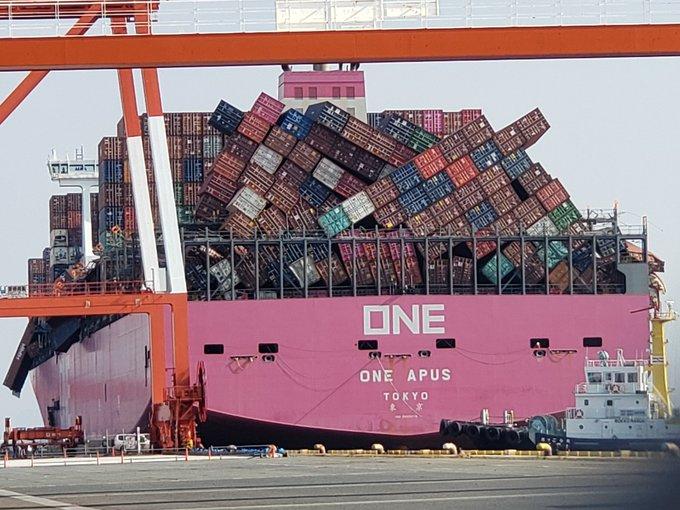 ONE Apus прибыл в Кобе для выгрузки. Предварительная стоимость ущерба оценивается в 250 млн долл 3