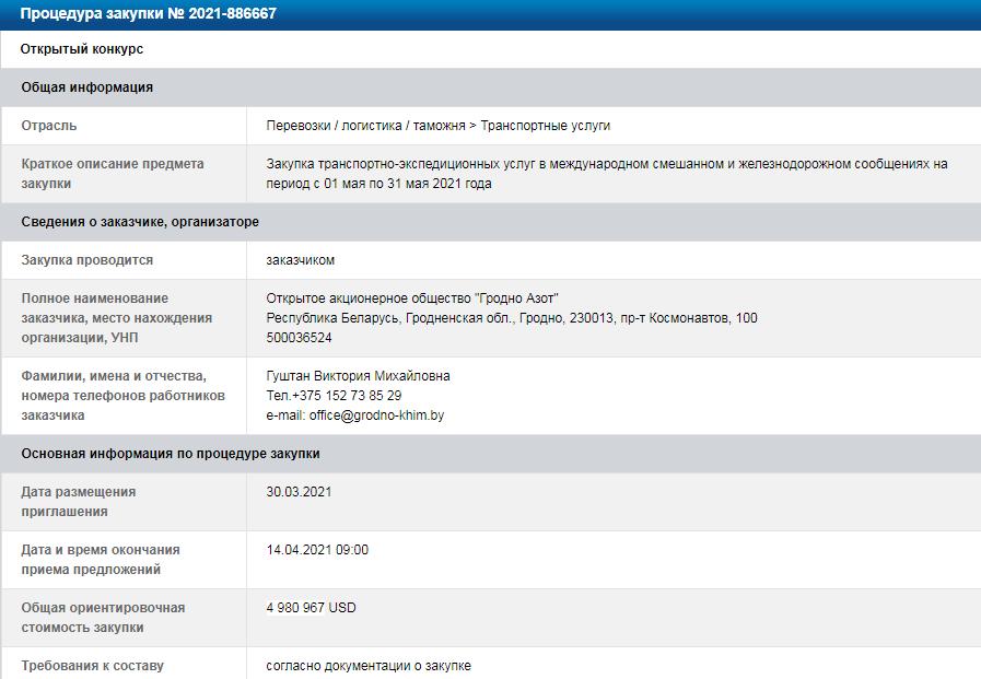 ОАО «ГродноАзот» объявил тендер по закупке транспортных услуг на 5 млн долл. 1